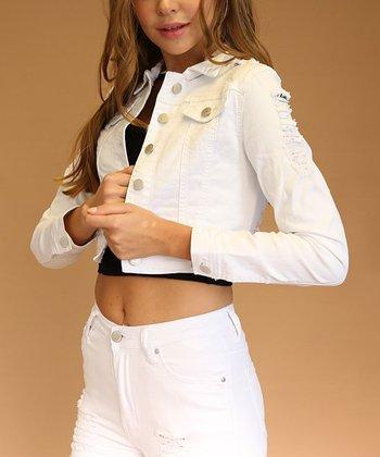 2cf7cf6058c White Distressed Twill Crop Denim Jacket - Women