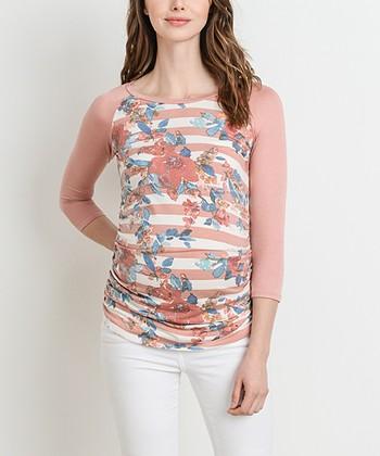 d51c73c26aa Blush Floral   Stripe Maternity Raglan Top
