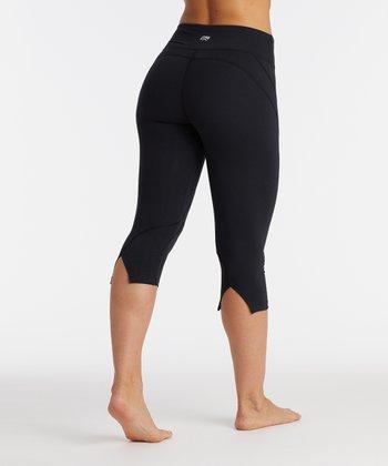 596b20069a5511 Black Platinum Ava Performance Slit-Back Crop Leggings - Women