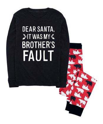 1b1307269 Black & Red Bear 'Dear Santa: Brother's Fault' Pajama Set - Kids