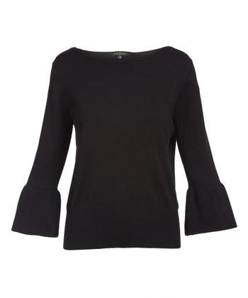 5f2f7db891319 Black Bell-Sleeve Sweater - Women