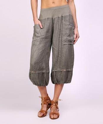50bd1b42c15b Khaki Side-Pocket Linen Harem Pants - Women