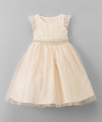 3fdc01a8bf Champagne Embellished-Trim Tulle Angel-Sleeve Dress - Toddler   Girls