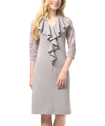 bd670744 Gray Lace-Sleeve Ruffle-Accent V-Neck Dress - Plus