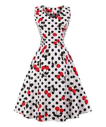 e24711c9056 Black   White Polka Dot   Cherry Tea-Length Vintage Fit   Flare Dress -  Women