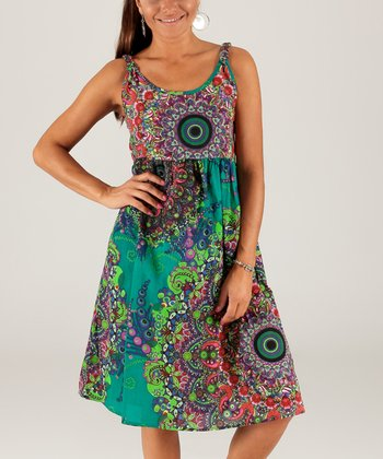 87fa63a394b0 Green   Purple Abstract Scoop Neck Dress - Women