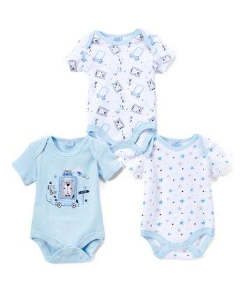 98697f9a3130 White & Light Blue Star Car Bodysuit Set - Infant