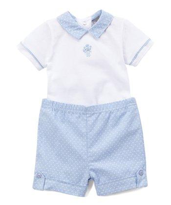 75c3372ae1c2 Blue & White Dot Bodysuit & Shorts - Infant