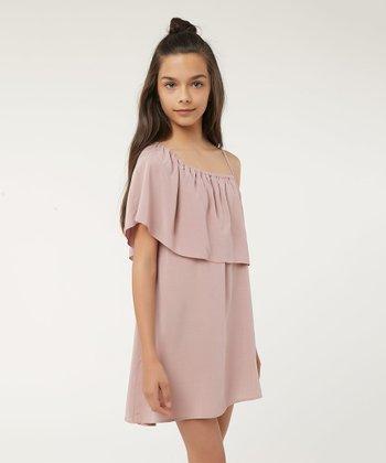 69502cc8e0 Mauve Serenade Flounce Asymmetrical Dress - Girls
