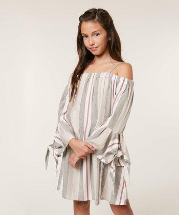 4e1ddf0c03 Gray Stripe Madie TBell-Sleeve Off-Shoulder Dress - Girls