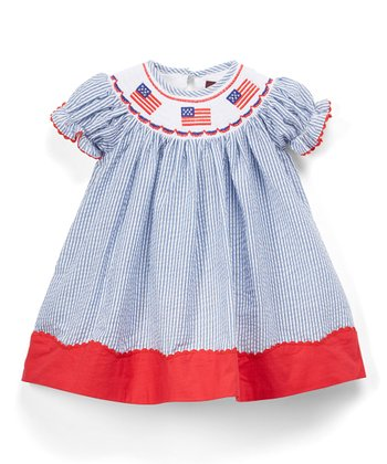 8bcbfa85b49 Dark Blue   Red Seersucker U.S.A. Flag Smocked Bishop Dress - Infant