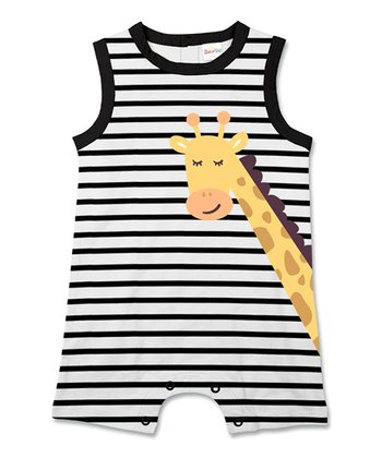66d85af39 Black Stripe Giraffe Sleeveless Romper - Infant & Toddler