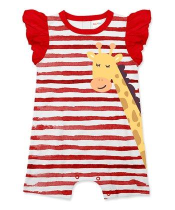 07cb2e772 Red Stripe Giraffe Angel-Sleeve Romper - Infant & Toddler