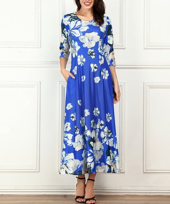 8e40d3bc56 Blue Floral Side-Pocket Maxi Dress - Women & Plus. «