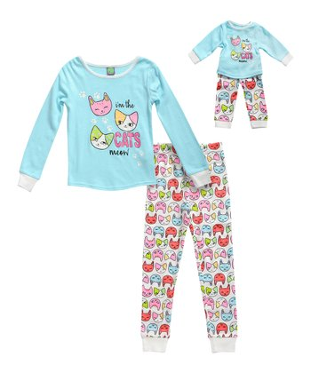d3ebd5e17d Turquoise 'Cats Meow' Pajama Set & Doll Outfit - Toddler & Girls