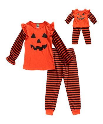 Orange Pumpkin Pajama Set   Doll Outfit - Toddler   Girls f3d102cc6