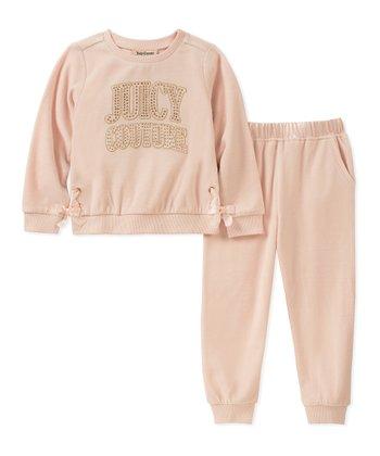 ce19307cb20f7 Peach 'Juicy Couture' Bow-Accent Velour Sweatshirt & Sweatpants - Infant &  Girls