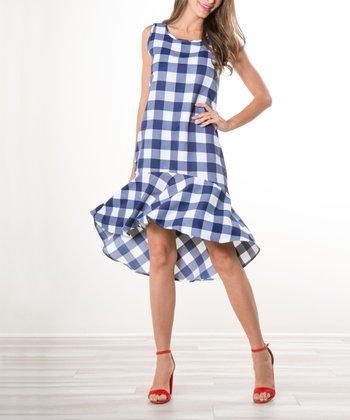 d71aa00d358 Navy Gingham Drop-Waist Dress - Women