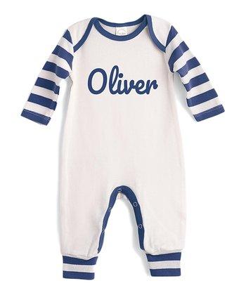 9e040581b19 Ivory   Blue Stripe Personalized Playsuit - Newborn   Infant