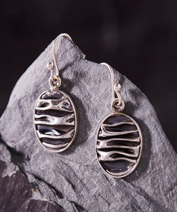 54bdf4415 Sterling Silver Hammered Oval Drop Earrings