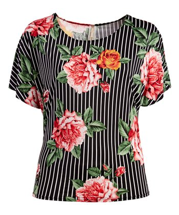 5d81307df30 Black   Red Floral   Stripe Scoop Neck Top - Plus