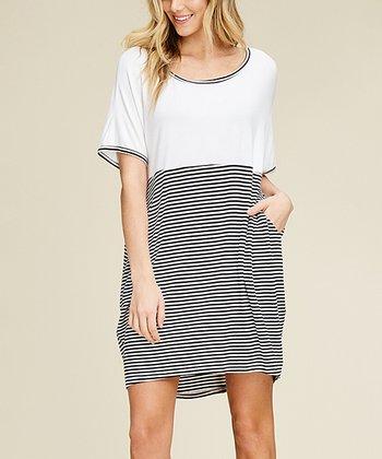 66b6caa2783 Ivory   Black Stripe Side-Pocket Oversize T-Shirt Dress - Women