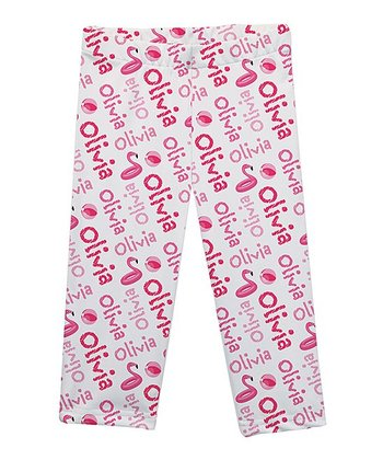 87957cf53198a White & Pink Flamingo Personalized Capri Leggings - Infant, Toddler & Girls