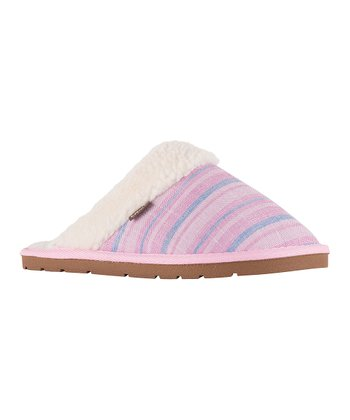 5a3e9d361 Pink Stripe Aria Faux Fur Slipper - Women