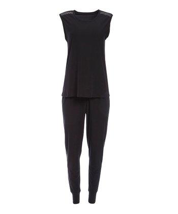 860388e9539 Black Nailhead-Trim Pajama Set - Women
