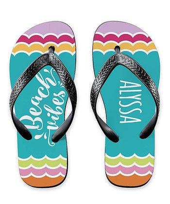 5baf1daa18c1 Aqua   Pink  Beach Vibes  Personalized Flip-Flop - Adult