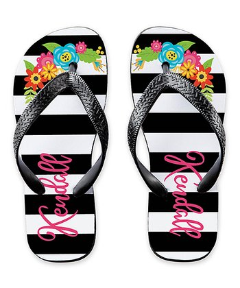 69ab3cfaa5e9 Black   White Stripe Floral Personalized Flip-Flop - Adult