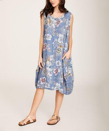 5eea4600b3e4 Blue Jean Floral Sleeveless Linen Shift Dress - Women