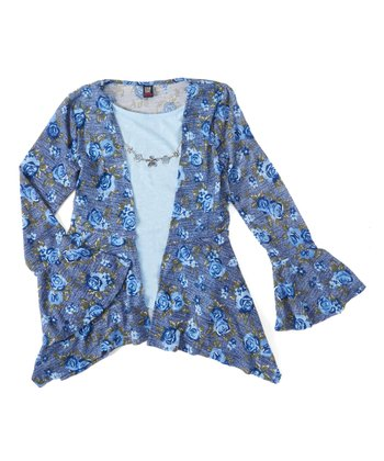 a318714858f3f Peacoat Floral Necklace-Accent Layered Top - Girls