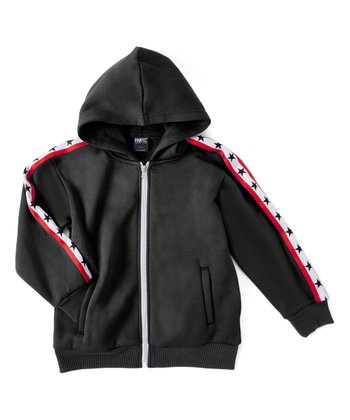 65794e613 Black & Red Star Zip-Up Hoodie - Boys