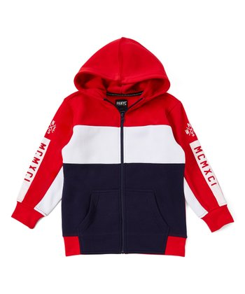 0b1027649 Red & White Color Block Zip-Up Hoodie - Toddler. Heather Gray & Black ...