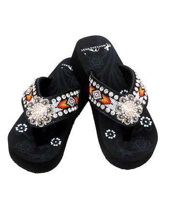 db12c2dca Black   Orange Rhinestone Wedge Flip-Flop - Women
