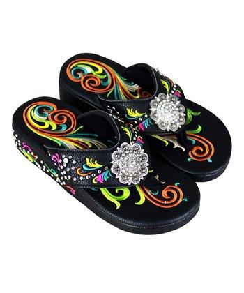 d6a693b778dfa9 Black Embroidered Novelty Flip-Flop - Women