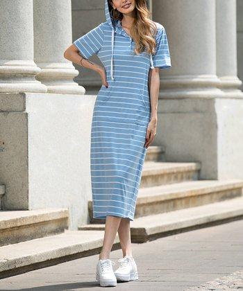 987a858ba2b Blue Button-Front Hooded Midi Dress - Plus