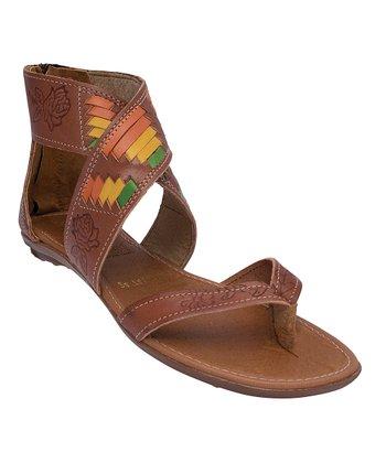 4ab8460af Brown Leather Flower Embossed Gladiator Sandal - Women