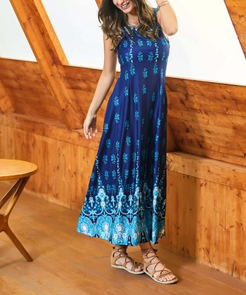 c67d95ba85 Navy Floral Border Sleeveless Side-Pocket Maxi Dress - Women