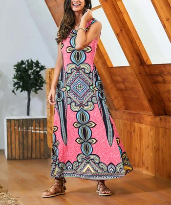 a6554270d2a Coral Abstract Sleeveless Side-Pocket Maxi Dress - Women