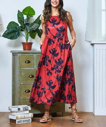 0b93f6bf6d Red Floral Sleeveless Side-Pocket Maxi Dress - Women & Plus