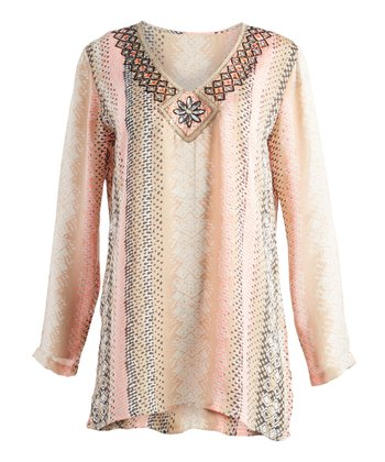 c546847d323e ... Chelsea   Theodore 57 results. Pink   Gray Embroidered V-Neck Tunic -  Women