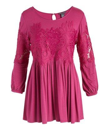 59123ae949c1 Fuchsia Lace-Appliqué Empire-Waist Top - Women