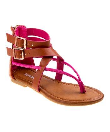 f04ada3ecc8 Fuchsia   Brown Double-Buckle Gladiator Sandal - Girls