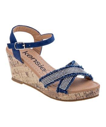 56b605a1201 Denim Embellished Cross-Strap Wedge Sandal - Girls