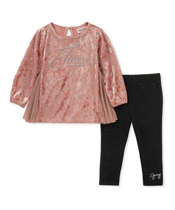 89ecf5b25298f Pink Velvet Tunic & Black Leggings - Infant & Girls. Black & Beige Leopard  Sweater & Cat ...