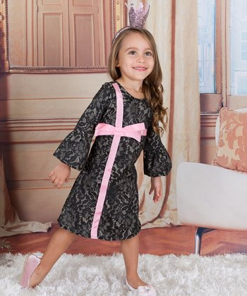 5f39c2f6800 Black   Gray A-Line Dress - Toddler