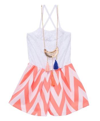 7c02db76bca8 Neon Pink Zigzag Romper   Necklace - Girls · Green   Blue Geometric ...
