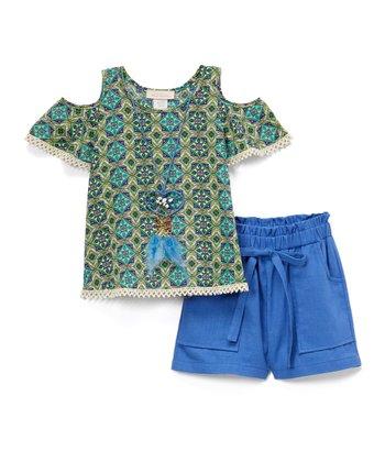 107ec10e5004 Green   Blue Geometric Cold-Shoulder Top Set - Girls
